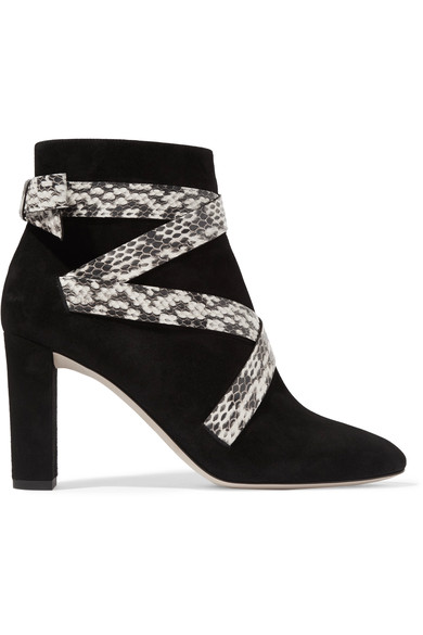 Jimmy Choo Woman Heat Suede And Elaphe Ankle Boots Black