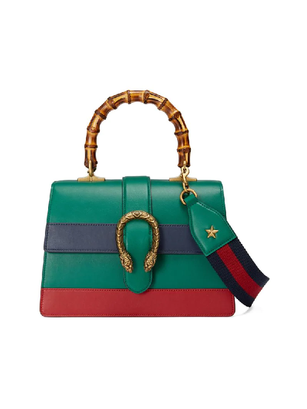 Gucci Dionysus Bamboo Medium Leather Shoulder Bag In Green