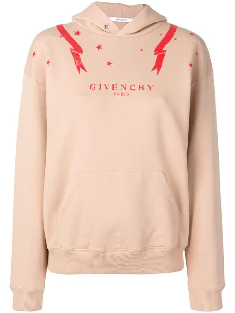 Givenchy Logo Star Print Hoodie In Neutrals