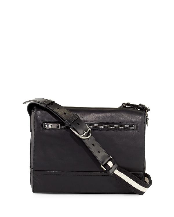Bally Tamrac Men's Leather Messenger Bag, Black