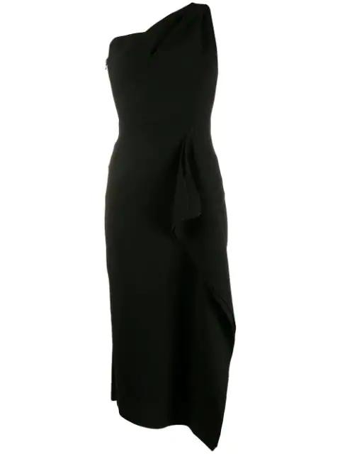 Roland Mouret Rivoli One Shoulder Wool-crepe Midi Dress In Black