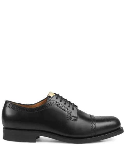 Gucci Brogue Leather Lace-Up Shoe In Black