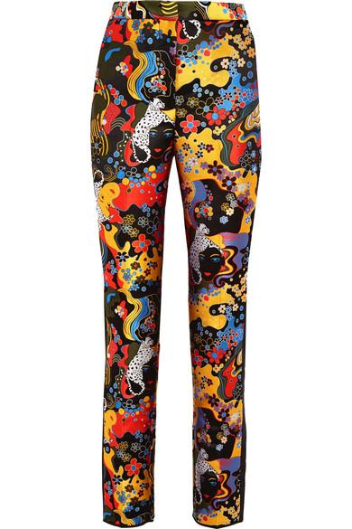 Mary Katrantzou Slick Psychedelic-jacquard Slim-leg Trousers In Black Multi