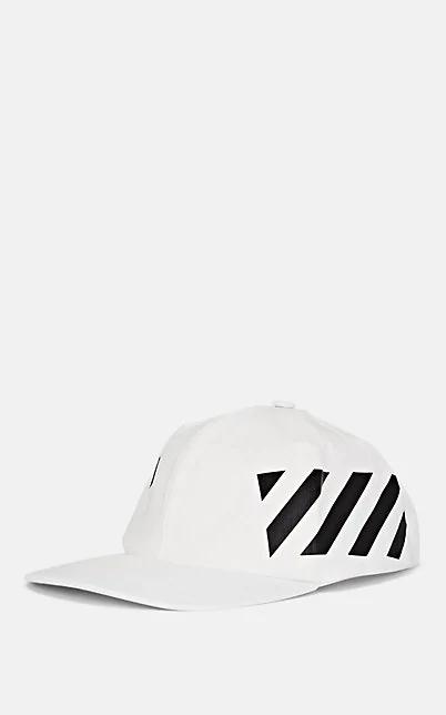 Off-White Diagonal Stripe-Logo Cotton Baseball Cap In White