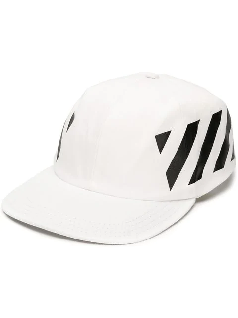 Off-White Diagonal Stripe-Logo Cotton Baseball Cap In White