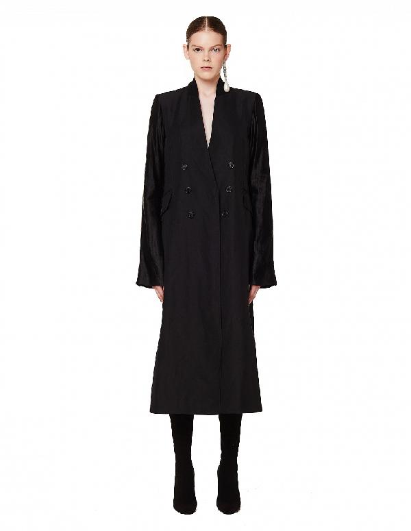 Ann Demeulemeester Black Linen Francis Coat