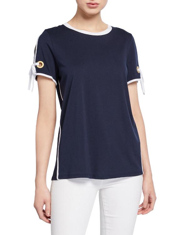 Donna Karan Crewneck Short-Sleeve Top With Tie-Sleeves In Indigo