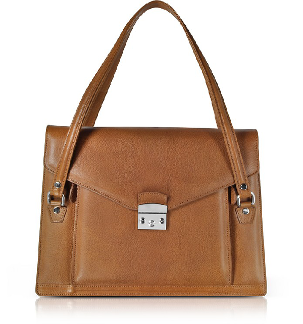 L.a.p.a. Double Compartment Calf Leather Women's Briefcase In Tan