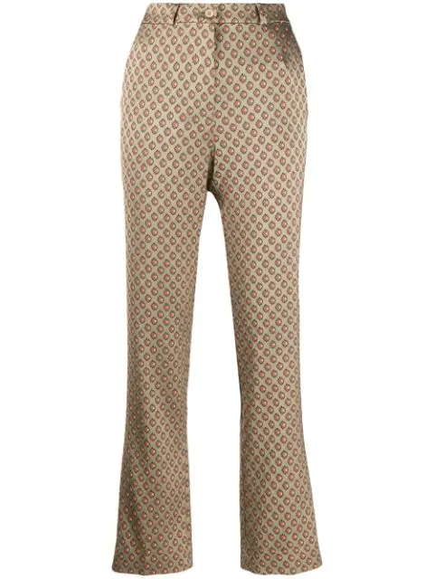 Etro Jacquard Trousers In Neutrals