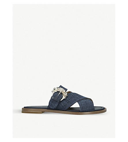Michael Michael Kors Frieda Crystal-embellished Buckle Leather Sliders In Blue/dark