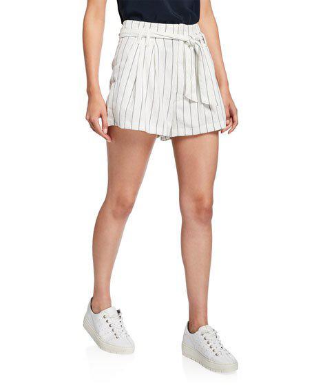 7 For All Mankind Tie-waist Striped Shorts In White Blk Stripe
