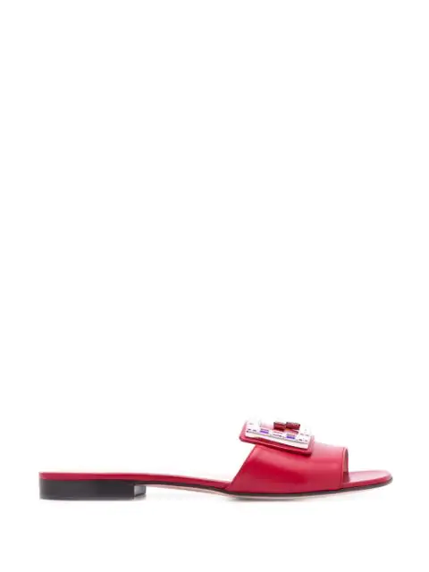 Gucci Embellished G Flat Sandals In Red