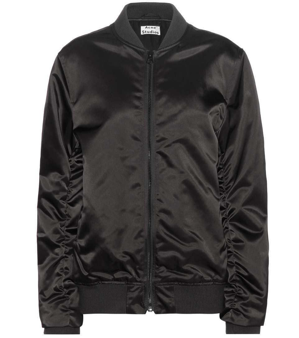 Acne Studios Leia Satin Bomber Jacket In Black