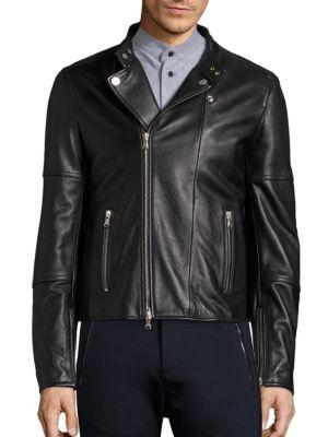Diesel Long Sleeve Leather Moto Jacket In Black