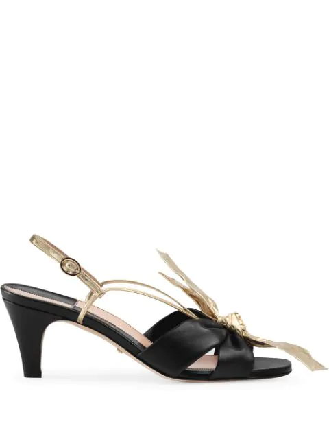Gucci Leather Mid-Heel Sandal With Bow In Black
