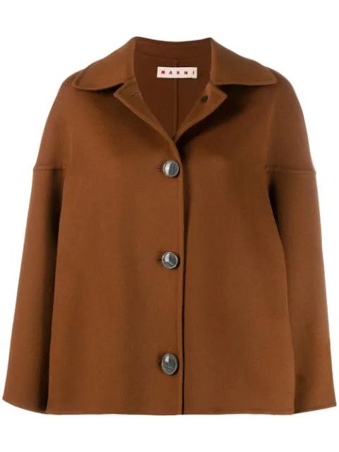 Marni Dropped Shoulder Coat In Brown
