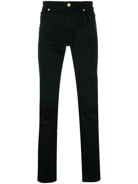 Pierre Balmain Coated Denim Skinny Moto Jeans, Black In 906 Blk Dnm