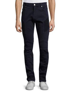 Pierre Balmain Slim-straight Stretch-denim Moto Jeans, Navy