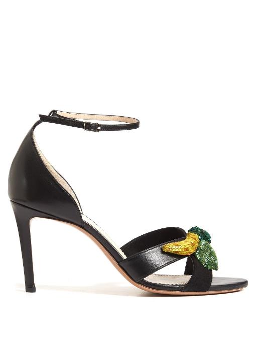 Altuzarra Bisbee Fruit-embellished Leather Sandals In Black Multi