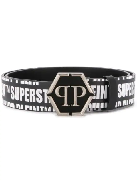 Philipp Plein Logo Buckle Belt In Black
