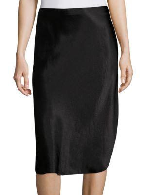 Vince Metallic Pull-on Skirt In Black