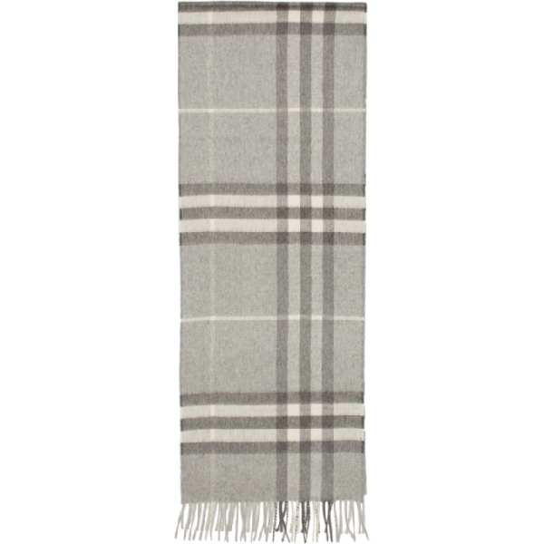 Burberry Grey Cashmere Giant Icon Scarf In Pale Grey