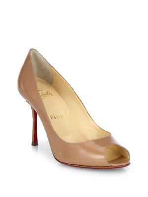 separation shoes 31ec8 18583 Yootish 85 Patent Leather Peep Toe Pumps in Nude
