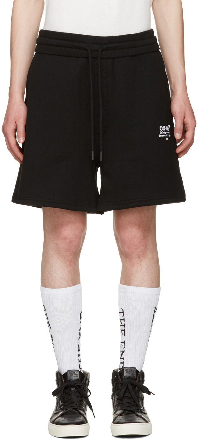Off-white Embroidered Track Shorts In Black
