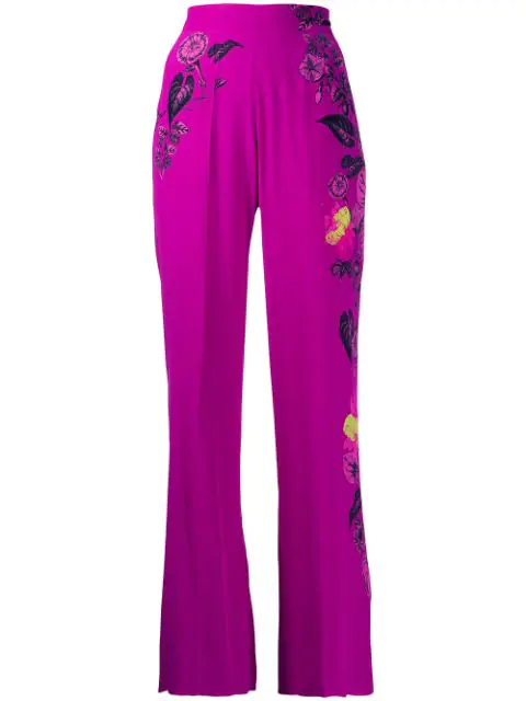 Etro High-waisted Floral Wide Leg Trousers In Purple