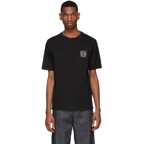 826093bb43a Loewe Anagram Embroidery Cotton Jersey T-Shirt In 1100 Black | ModeSens