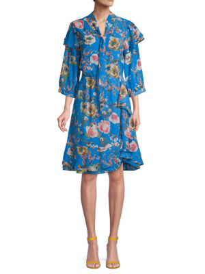 Walter Baker Floral Ruffled A-line Dress In Blue Floral