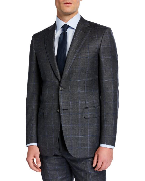 Brioni Men's Windowpane Two-Piece Wool Suit In Gray/Blue