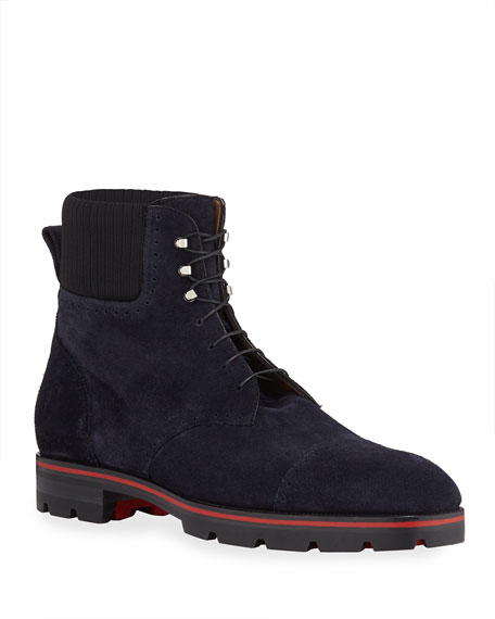 Christian Louboutin Men's Citycroc 20 Crosta Wax Suede Ankle Boots In Blue