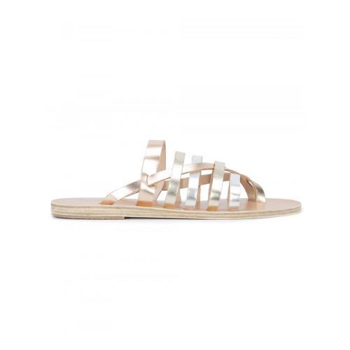 Ancient Greek Sandals Gaia Metallic Vachetta Leather Slide Sandals In Pink Silver