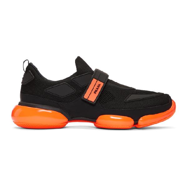 Prada 'cloudbust' Textile Hook-and-loop Strap Panelled Sneakers In F0o5m Ne/ar