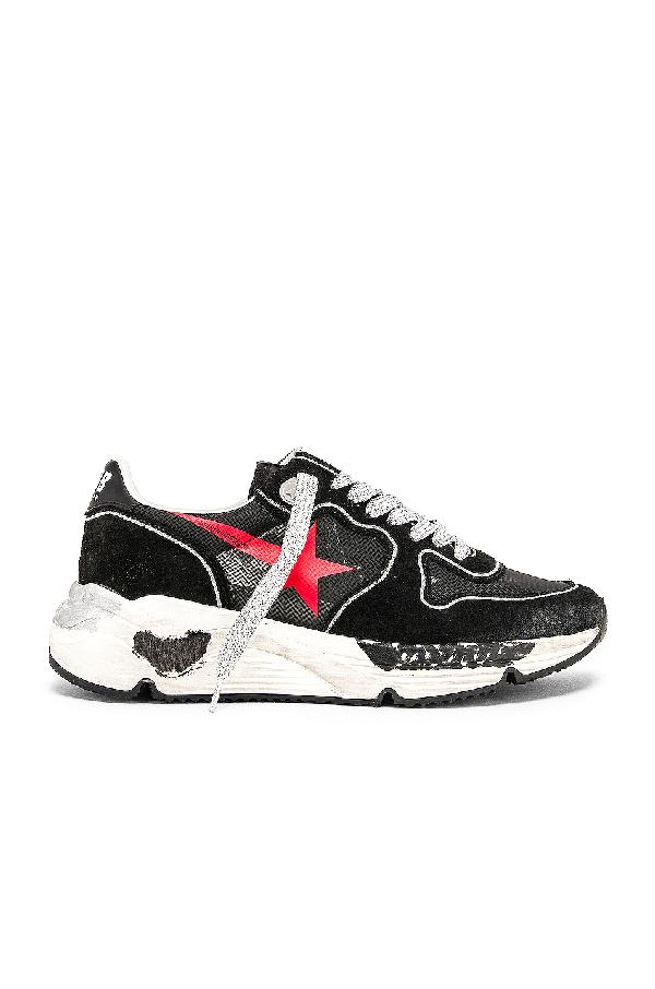 Golden Goose Running Sole Sneakers In Black & Red Star