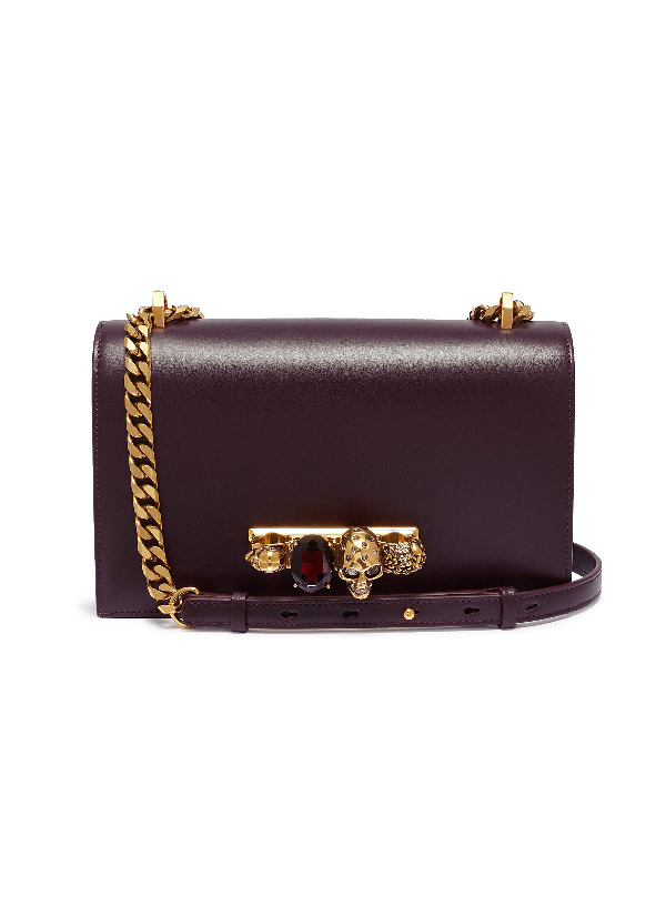 Alexander Mcqueen 'The Jewelled Satchel' In Leather With Swarovski Crystal Knuckle In Burgundy