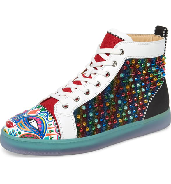 Christian Louboutin Men's Tribalouis Multicolor Spiked High-Top Sneakers In Version Multi