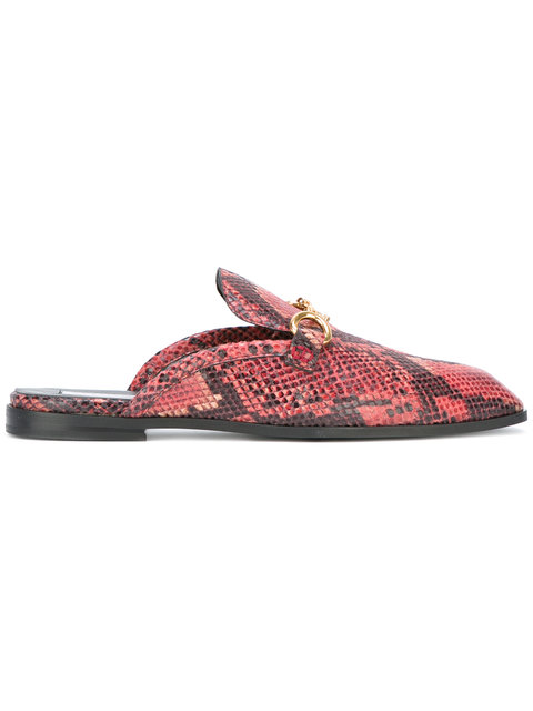 Stella Mccartney Python-effect Faux-leather Backless Loafers In Red Multi