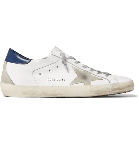 Golden Goose Superstar Distressed Suede-trimmed Leather Sneakers In White