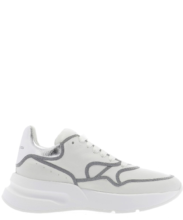 Alexander Mcqueen 'Oversized Runner' In Leather With Contrast Trim In White