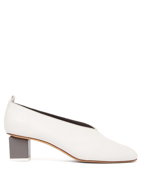 Gray Matters 'mildred' Geometric Heel Choked-up Leather Pumps In White