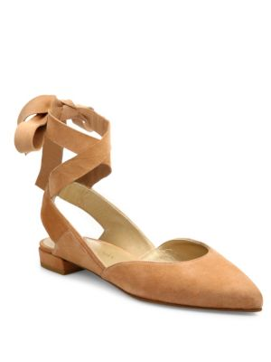 Stuart Weitzman Supersonic Suede Lace-up Flats In Naked