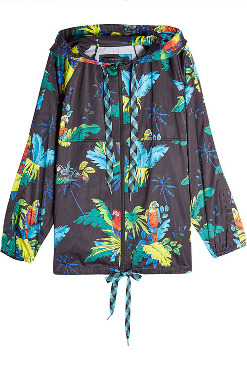 Marc Jacobs Hooded Printed Shell Jacket In Multicolored