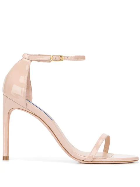 Stuart Weitzman 'Nudistsong' Ankle Strap Patent Leather Ankle Strap Sandals In Neutrals