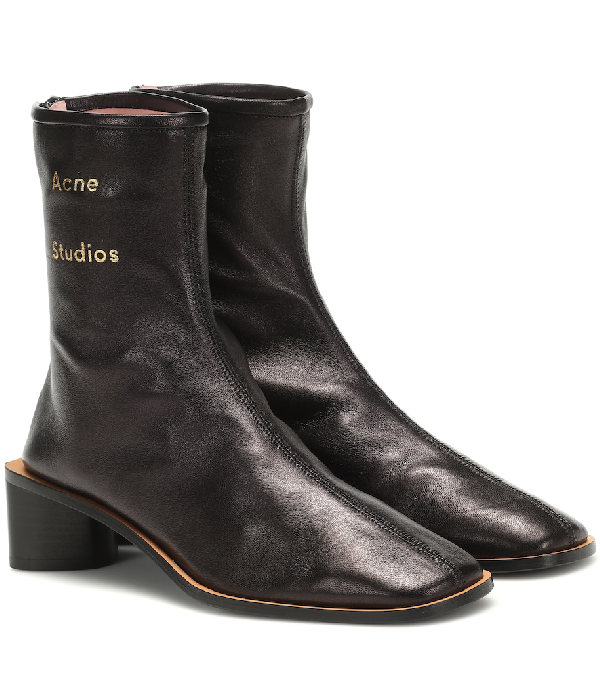 Acne Studios Triangular Heel Leather Ankle Boots In Black