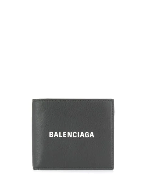 Balenciaga 'Everyday' Logo Print Leather Bifold Wallet In 1160 Grey
