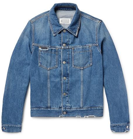 Maison Margiela Corduroy-trimmed Distressed Denim Jacket In Blue