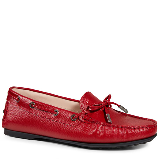 Tod's City Gommino Moccasins In Leather In Red