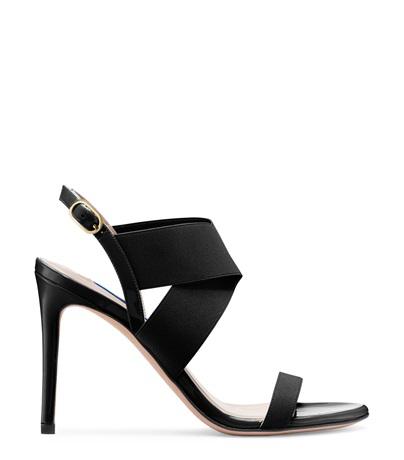 Stuart Weitzman 'alana' Cross Strap Sandals In Black Patent Leather